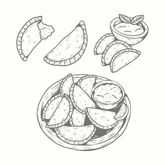 Coleção de empanada de mão desenhada