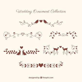 Coleção de enfeite de casamento com animais