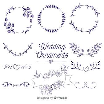 Coleção de enfeite de casamento de mão desenhada