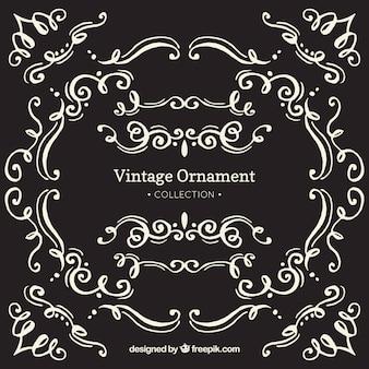 Coleção de enfeite vintage com estilo de quadro-negro
