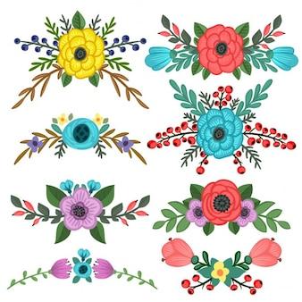 Coleção de enfeites buquê de flores vector