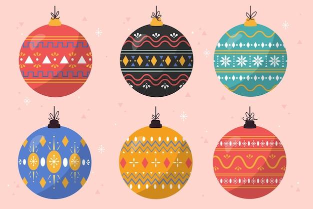 Coleção de enfeites de bola de natal desenhada à mão
