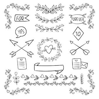 Coleção de enfeites de casamento desenhados à mão