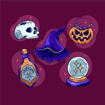 Coleção de enfeites de dia das bruxas desenhada à mão