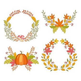 Coleção de enfeites de outono desenhada à mão