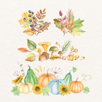 Coleção de enfeites de outono em aquarela com vegetação e plantas