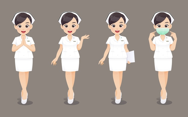 Coleção de enfermeira, médico de mulher dos desenhos animados ou enfermeira em uniforme branco