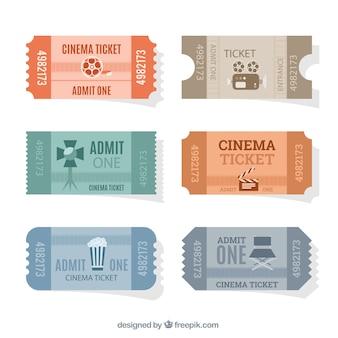 Coleção de entradas de cinema planas