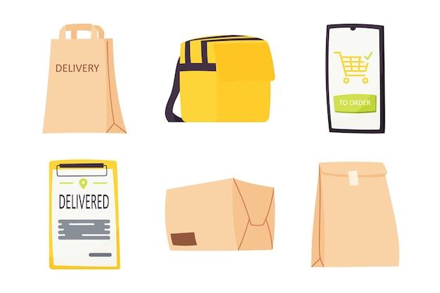 Coleção de entrega de elemento de design plano. conjunto de seis elementos