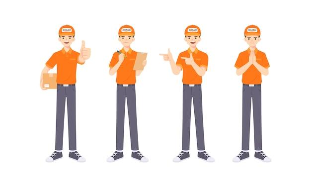 Coleção de entregadores uniformizados em muitas poses, mascote dos desenhos animados para ilustração