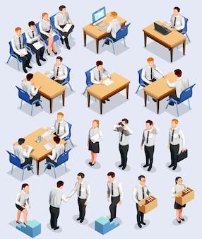 Coleção de entrevista de emprego isométrica