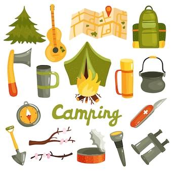 Coleção de equipamentos de camping