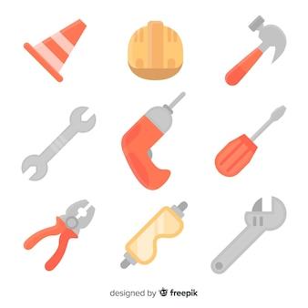 Coleção de equipamentos de construção plana