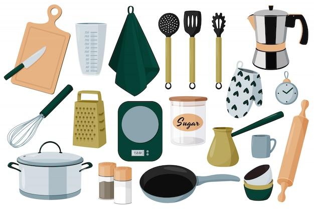Coleção de equipamentos de cozinha.