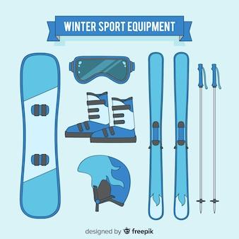 Coleção de equipamentos de esporte de inverno