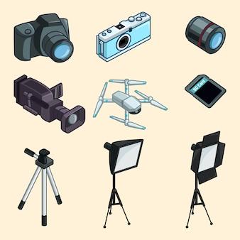 Coleção de equipamentos de fotografia