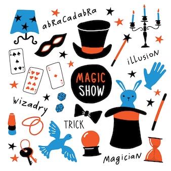Coleção de equipamentos de mágico.