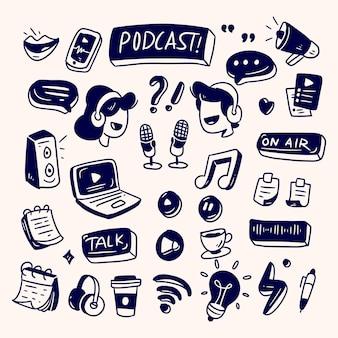 Coleção de equipamentos de podcast em doodle podcast desenhado à mão
