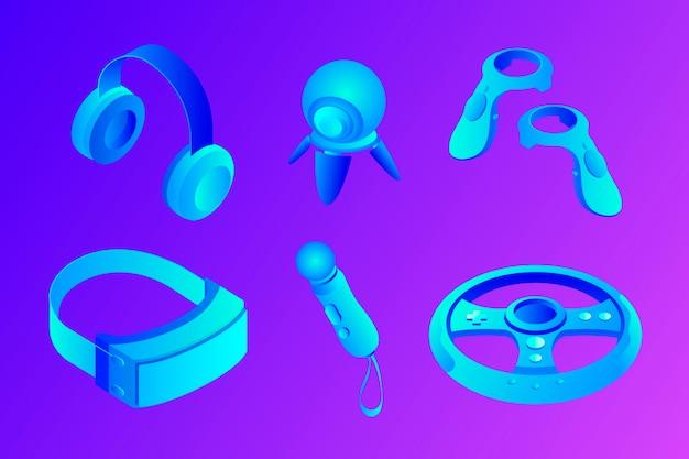 Coleção de equipamentos de realidade virtual