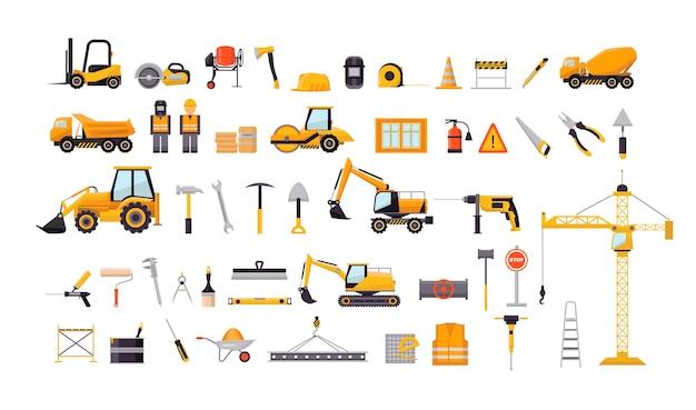 Coleção de equipamentos e ferramentas de construção