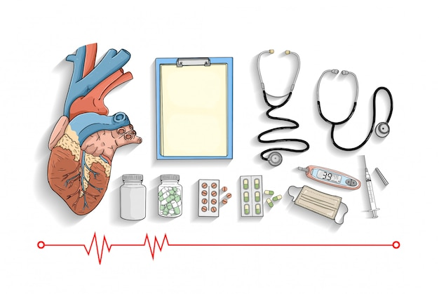 Coleção de equipamentos médicos