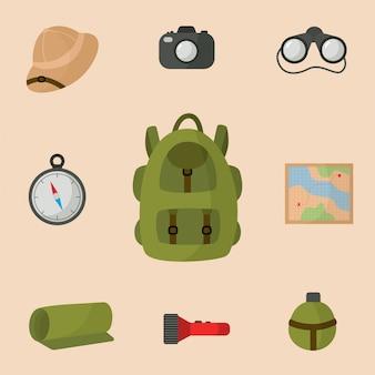 Coleção de equipamentos para a viagem de safari. mochila de turista.