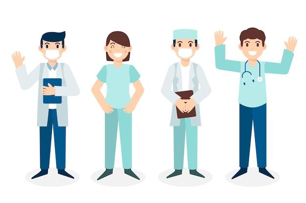 Coleção de equipe de profissionais de saúde