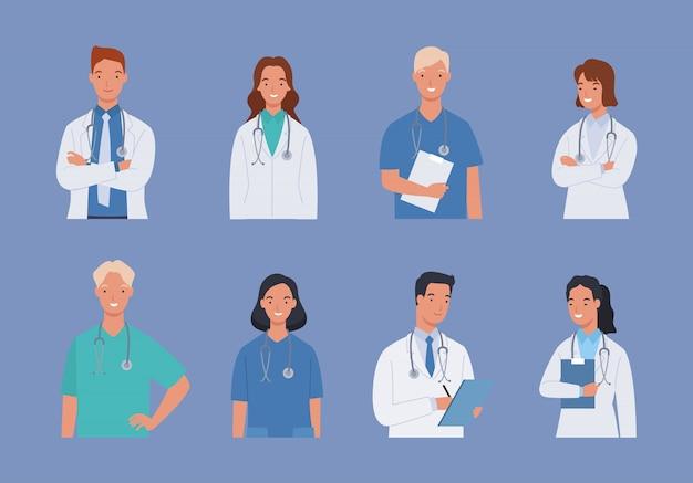 Coleção de equipe médica médico e enfermeiro, grupo de médicos.