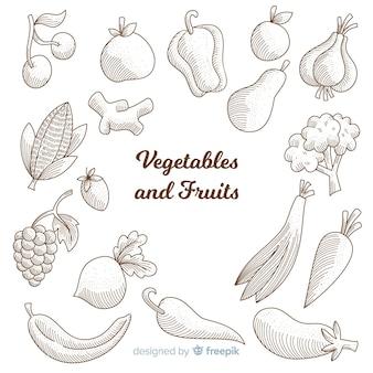 Coleção de esboços de comida saudável