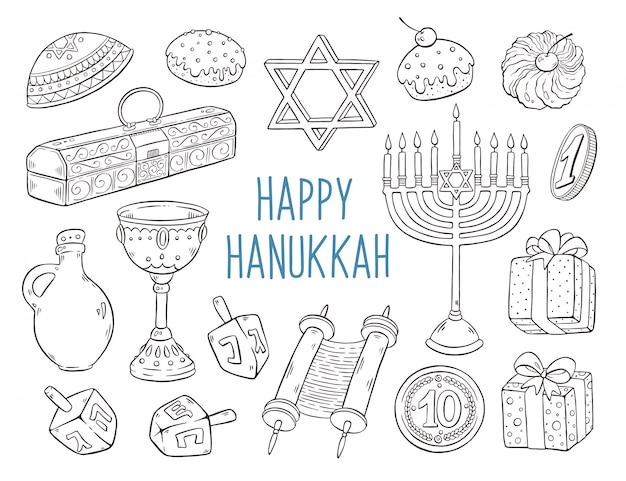 Coleção de esboços de hanukkah