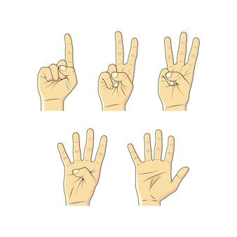 Coleção de esboços de mão, dedos e números