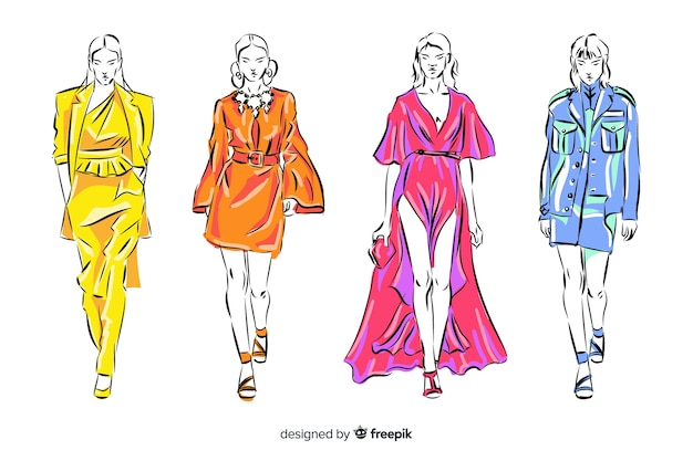 Coleção de esboços de modelos de moda
