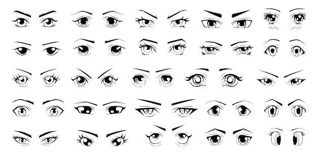 Coleção de esboços de olhos com diferentes emoções no estilo japonês.