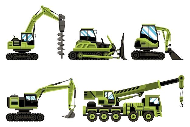 Coleção de escavadeiras verdes