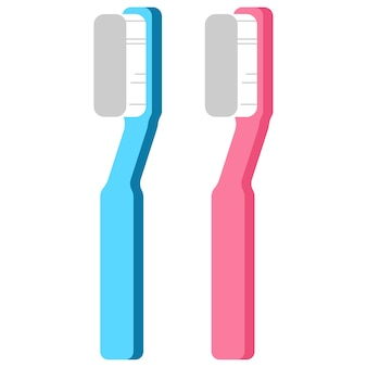 Coleção de escova de dentes isolada no branco