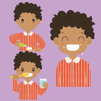 Coleção de escovadela do vetor dos desenhos animados da atividade dos dentes do menino do americano africano.
