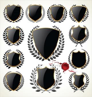 Coleção de escudo de ouro e preto