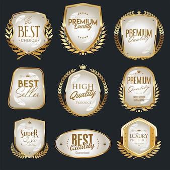 Coleção de escudos dourados e brancos e rótulos de escolha premium