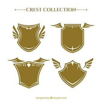 Coleção de escudos heráldicos com asas