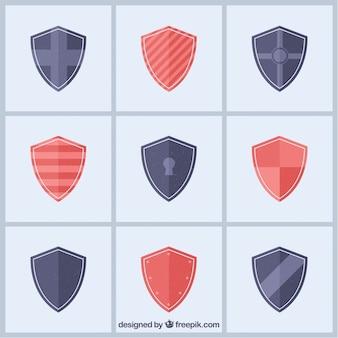 Coleção de escudos heráldicos em design plano