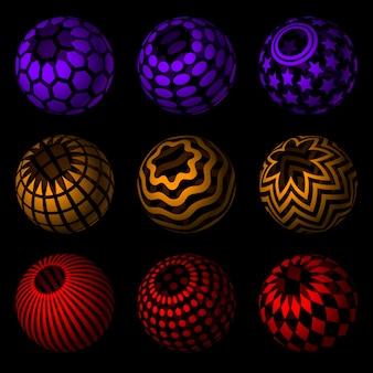 Coleção de esferas 3d em preto. superfícies listradas e pontilhadas.