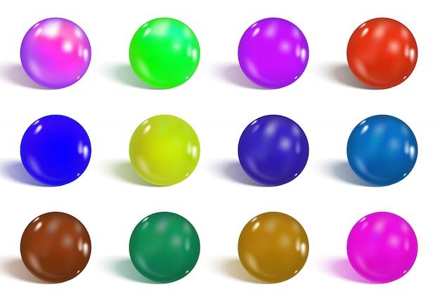 Coleção de esferas coloridas e brilhantes