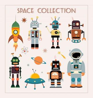 Coleção de espaço com elementos vintage