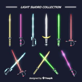 Coleção de espada de luz colorida