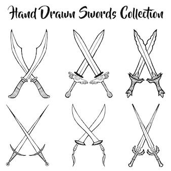 Coleção de espadas desenhadas à mão
