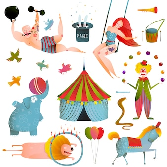 Coleção de espetáculos de carnaval de circo. divertido e bonito desempenho com animais, palhaço, homem forte e cavalo definir ilustração.