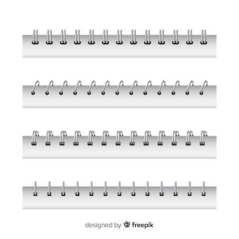 Coleção de espirais realistas para notebook