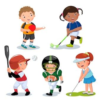 Coleção de esportes infantis isolados no branco