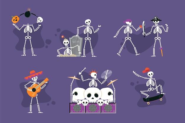 Coleção de esqueletos de halloween plana