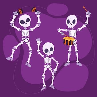 Coleção de esqueletos do dia das bruxas desenhada à mão